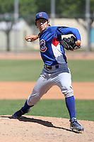 Dae-Eun Rhee of the Chicago Cubs plays in a minor league spring training game against the San Francisco Giants at the Cubs complex on March 29, 2011  in Mesa, Arizona. .Photo by:  Bill Mitchell/Four Seam Images.