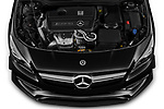 Car Stock 2019 Mercedes Benz CLA-Coupe 45-AMG 4 Door Sedan Engine  high angle detail view