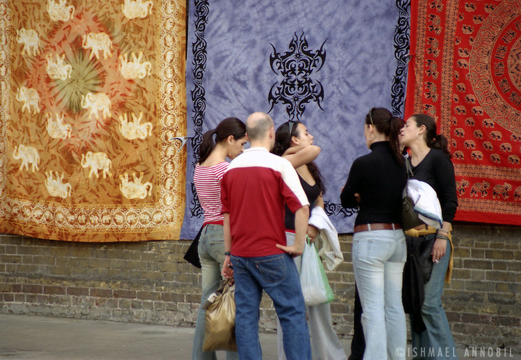 Wall hangers and tourists, Stables Market, Camden, London