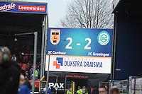 VOETBAL: LEEUWARDEN: 08-11-2015, SC Cambuur - FC Groningen, uitslag 2-2, scorebord, ©foto Martin de Jong