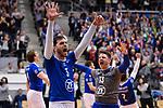 22.03.2018, Max Schmeling Halle, Berlin<br />Volleyball, 2018 CEV Volleyball Champions League, Achtelfinale, VfB Friedrichshafen vs. Berlin Recycling Volleys (GER)<br /><br />Jubel David Sossenheimer (#5 Friedrichshafen), Markus Steuerwald (#13 Friedrichshafen) nach Sieg<br /><br />  Foto &copy; nordphoto / Kurth