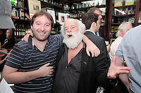 """26/7/2011. Porterhouse Celebrates Fifteen Years of Brewing with another Gold Medal. Pictured at the Sweny Chemist venue in Dublin celebrating are Andrew Johnson and Derdis Clarke.The Porterhouse Brewing Company is fifteen years old and to add to the celebrations they have been awarded a gold medal for their Plain Porter. The award, which is much sought after by brewers worldwide, was bestowed upon the Porterhouse's famous Plain Porter at the Brewing Industry International Awards, dubbed, """"The Brewing Oscars"""" in a glitzy ceremony at London's Guild Hall. It is the second time the Porterhouse has received this famous accolade. The first was in 1998 and again it was the Plain Porter that brought home the gold. The awards, with approximately eight hundred and fifty entries, are structured into nine categories with thirty-two classes and medals are extremely difficult to win. Picture Collins Photos"""