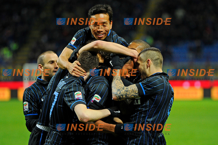 Esultanza gol di Fredy Guarin Inter 1-0. Celebration goal<br /> Milano 08-02-2015 Stadio Giuseppe Meazza - Football Calcio Serie A Inter - Palermo. Foto Giuseppe Celeste / Insidefoto