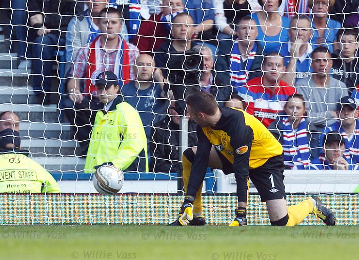 Allan McGregor fumbles Baddur Ek Kaddouri's shot and it slips past him into the net