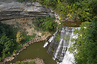 The Falling Water River drops 136' over Burgess Falls lower falls viewed from above on hiking trail.