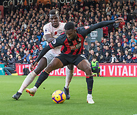 Manchester United's Paul Pogba (left) battles with Bournemouth's Jefferson Lerma (right) <br /> <br /> Photographer David Horton/CameraSport<br /> <br /> The Premier League - Bournemouth v Manchester United - Saturday 3rd November 2018 - Vitality Stadium - Bournemouth<br /> <br /> World Copyright &copy; 2018 CameraSport. All rights reserved. 43 Linden Ave. Countesthorpe. Leicester. England. LE8 5PG - Tel: +44 (0) 116 277 4147 - admin@camerasport.com - www.camerasport.com