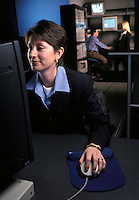 woman at computer workstation