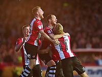 Exeter City's Ryan Harley celebrates scoring his sides third goal with team mates<br /> <br /> Photographer Andrew Vaughan/CameraSport<br /> <br /> The EFL Sky Bet League Two Play Off Second Leg - Exeter City v Lincoln City - Thursday 17th May 2018 - St James Park - Exeter<br /> <br /> World Copyright &copy; 2018 CameraSport. All rights reserved. 43 Linden Ave. Countesthorpe. Leicester. England. LE8 5PG - Tel: +44 (0) 116 277 4147 - admin@camerasport.com - www.camerasport.com