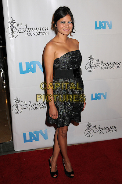 MELONIE DIAZ.23rd Annual IMAGEN Awards at the Beverly Hilton Hotel, Beverly Hills, California, USA..August 21st, 2008.full length melanie dress grey gray silver belt strapless .CAP/ADM/BP.©Byron Purvis/AdMedia/Capital Pictures.