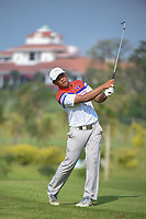 Chanpasit OUNAPHOM (LAO) hits his approach shot on 3 during Rd 1 of the Asia-Pacific Amateur Championship, Sentosa Golf Club, Singapore. 10/4/2018.<br /> Picture: Golffile | Ken Murray<br /> <br /> <br /> All photo usage must carry mandatory copyright credit (&copy; Golffile | Ken Murray)