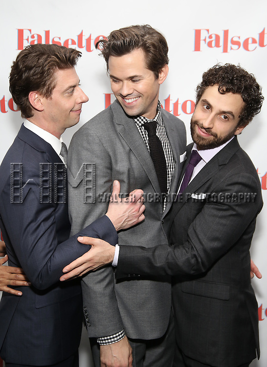 Christian Boyle, Andrews Rannells and Brandon Uranowitz attends the Opening Night After Party for 'Falsettos'  at the New York Hilton Hotel on October 27, 2016 in New York City.