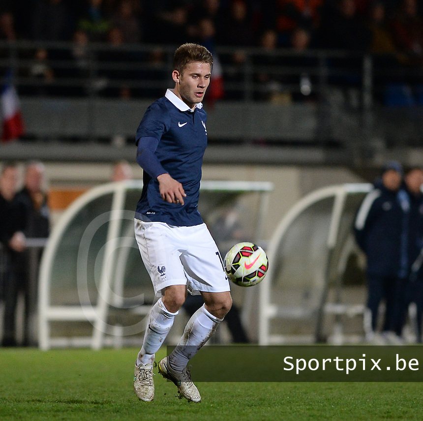 20150326 - SAINT-LO , FRANCE  : French Alexis Blin pictured during the soccer match between Under 19 teams of France and Azerbaijan , on the first matchday in group 7 of the UEFA Elite Round Under 19 at stade Louis Villemer , Saint-Lo France . Thursday 26 rd  March 2015 . PHOTO DAVID CATRY