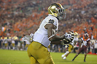 Blacksburg, VA - October 6, 2018: Notre Dame Fighting Irish wide receiver Miles Boykin (81) catches a touchdown during the game between Notre Dame and VA Tech at  Lane Stadium in Blacksburg, VA.   (Photo by Elliott Brown/Media Images International)