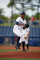 Charlotte Stone Crabs starting pitcher Genesis Cabrera (27) delivers a pitch during a game against the Palm Beach Cardinals on April 11, 2017 at Charlotte Sports Park in Port Charlotte, Florida.  Palm Beach defeated Charlotte 12-6.  (Mike Janes/Four Seam Images)