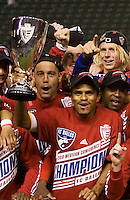 FC Dallas 2010 MLS MVP David Ferreira with the Westren Conference Championship trophy. FC Dallas defeated the LA Galaxy 3-0 to win the Western Division 2010 MLS Championship at Home Depot Center stadium in Carson, California on Sunday November 14, 2010.