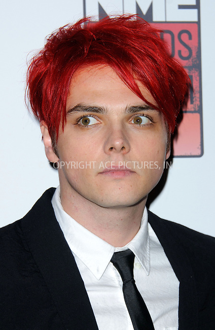 WWW.ACEPIXS.COM . . . . .  ..... . . . . US SALES ONLY . . . . .....February 23 2011, London....Gerard Way of My Chemical Romance at the Shockwaves NME Awards held at the O2 Academy Brixton on February 23 2011 in London ....Please byline: FAMOUS-ACE PICTURES... . . . .  ....Ace Pictures, Inc:  ..Tel: (212) 243-8787..e-mail: info@acepixs.com..web: http://www.acepixs.com