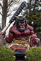 Oni are creatures from Japanese folklore, variously called demons, devils, ogres or trolls. They are popular characters in Japanese art, literature and theatre. Depictions of oni vary widely but usually portray them as hideous, gigantic, creatures with sharp claws, wild hair, and two long horns growing from their heads. They are humanoid for the most part, but occasionally, they are shown with unnatural features such as odd numbers of eyes or extra fingers and toes. Their skin may be any number of colors, but red and blue are particularly common.