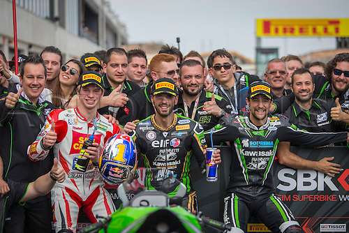 03.04.2016. Motorland, Aragon, Spain, World Championship Motul FIM of Superbikes. Kenan Sofuoglu #1, Kawasaki ZX-6R rider of Supersport Randy Krummenacher #21, Kawasaki ZX-6r rider of Supersport and the Kawasaki Team celebrate after the Race  in the World Championship Motul FIM of Superbikes from the Circuito de Motorland.