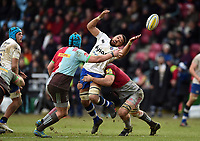 Taulupe Faletau of Bath Rugby loses the ball in contact. Aviva Premiership match, between Harlequins and Bath Rugby on March 2, 2018 at the Twickenham Stoop in London, England. Photo by: Patrick Khachfe / Onside Images