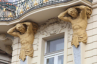 Caryatids supporting a wrought iron balcony on the neo-Baroque facade of a building near the Jewish quarter, Prague, Czech Republic. The historic centre of Prague was declared a UNESCO World Heritage Site in 1992. Picture by Manuel Cohen