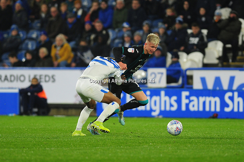 Sam Surridge of Swansea City in action during the Sky Bet Championship match between Huddersfield Town and Swansea City at The John Smith's Stadium in Huddersfield, England, UK. Tuesday 26 November 2019
