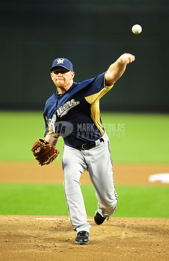 Apr. 3, 2012; Phoenix, AZ, USA; Milwaukee Brewers pitcher Randy Wolf throws in the first inning against the Arizona Diamondbacks during a spring training game at Chase Field.  Mandatory Credit: Mark J. Rebilas-