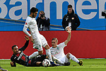 17.03.2019, BayArena, Leverkusen, GER, DFL, 1. BL, Bayer 04 Leverkusen vs SV Werder Bremen, DFL regulations prohibit any use of photographs as image sequences and/or quasi-video<br /> <br /> im Bild v. li. im Zweikampf Karim Bellarabi (#38, Bayer 04 Leverkusen) Ludwig Augustinsson (#5, SV Werder Bremen)  am Boden Nuri Şahin (#17, SV Werder Bremen) stehend<br /> <br /> Foto © nph/Mauelshagen