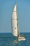 Sailboat on Atlantic Ocean, Rye, New Hampshire.