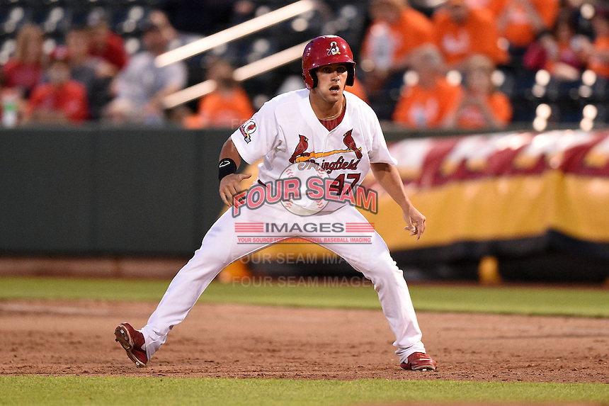 Springfield Cardinals outfielder Nick Martini (47) pinch runs during a game against the Frisco Rough Riders on June 1, 2014 at Hammons Field in Springfield, Missouri.  Springfield defeated Frisco 3-2.  (Mike Janes/Four Seam Images)