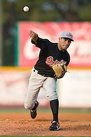 Starting pitcher Eddie Gamboa (7) of the Bluefield Orioles in action at Burlington Athletic Park in Burlington, NC, Saturday, July 26, 2008. (Photo by Brian Westerholt / Four Seam Images)