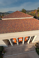 Occidental College from a lift - Thorne Hall front and roof, December 1, 2009. (Photo by Marc Campos, Occidental College)