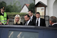 (Oslo July 24, 2011) HRH Mette Marit and Crown Prince Haakon after attending a memorial service, two days after a shooting spree by a lone gunman who killed over 80 youths at a political camp.  The man has also admitted to be behind a  powerful explosion that ripped through government buildings in central Oslo, Norway, killing many people and injuring more.  (photo: Fredrik Naumann/Felix Features)