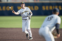 Michigan Wolverines second baseman Jimmy Kerr (15) makes a throw to first base during the NCAA baseball game against the Eastern Michigan Eagles on May 16, 2017 at Ray Fisher Stadium in Ann Arbor, Michigan. Michigan defeated Eastern Michigan 12-4. (Andrew Woolley/Four Seam Images)