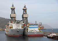 Mothballed oil rigs in the Santa Cruz port on Tenerife on Saturday, November 11, 2017. The Canary Islands ports are used by a number of oil companies for mothballing (preserving and storing production assets without using them to produce) rigs from the African and South American off shore oil fields for long periods of time due to the oversupply of product and the resulting fall in crude oil prices. <br /> Credit: Ron Sachs / CNP /MediaPunch