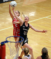 28.10.2014 Silver Ferns Katrina Grant and England's Sara Bayman in action during the Silver Ferns V England netball match played at the Rotorua Events Centre in Rotorua. Mandatory Photo Credit ©Michael Bradley.