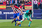 Filipe Luis of Atletico de Madrid competes for the ball with Leo Messi of Futbol Club Barcelona  during the match of Spanish La Liga between Atletico de Madrid and Futbol Club Barcelona at Vicente Calderon Stadium in Madrid, Spain. February 26, 2017. (ALTERPHOTOS)