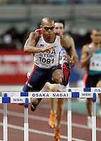 James Carter ran 49.52sec. in the 1st. round of the 400m hurdles at the 11th. IAAF World Championdhips on Saturday, August 25 2007. Photo by Errol Anderson,The Sporting Image.Assorted images of the 11th. World  Track and Field Championships held in Osaka, Japan.