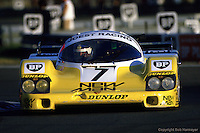 Joest Racing Porsche 956 en-route to victory during 1985 24 Hours of Le Mans race in Le Mans, France.