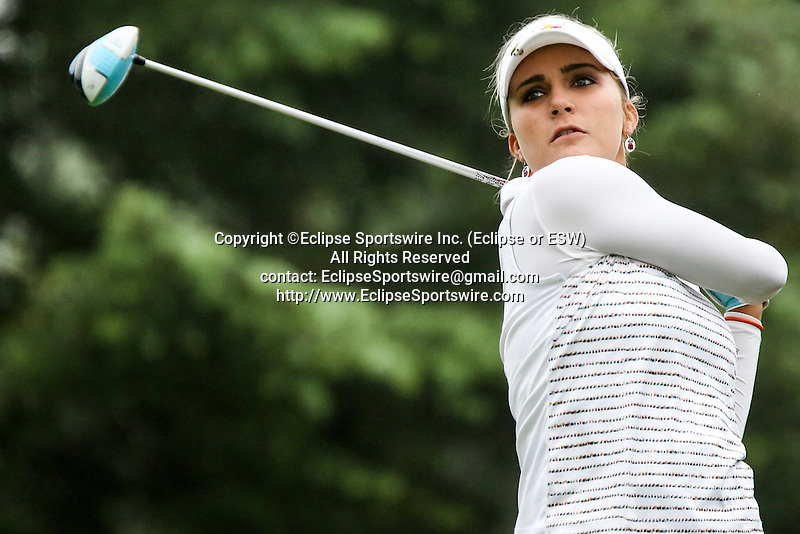 American Lexi Thompson tees off on the third tee at the LPGA Championship at Locust Hill Country Club in Pittsford, NY on June 7, 2013