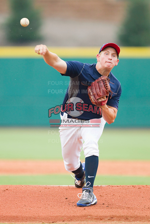 Starting pitcher John Simms #39 in action against Team Red during the USA Baseball 18U National Team Trials at the USA Baseball National Training Center on June 30, 2010, in Cary, North Carolina.  Photo by Brian Westerholt / Four Seam Images