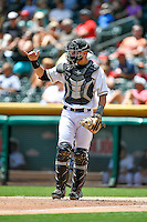 Anthony Bemboom (36) of the Salt Lake Bees on defense against the El Paso Chihuahuas in Pacific Coast League action at Smith's Ballpark on July 10, 2016 in Salt Lake City, Utah. El Paso defeated Salt Lake 11-2. (Stephen Smith/Four Seam Images)
