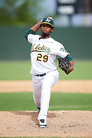 Oakland Athletics minor league pitcher Paul Alcantara #29 during an instructional league game against the Arizona Diamondbacks at the Papago Park Baseball Complex on October 11, 2012 in Phoenix, Arizona. (Mike Janes/Four Seam Images)