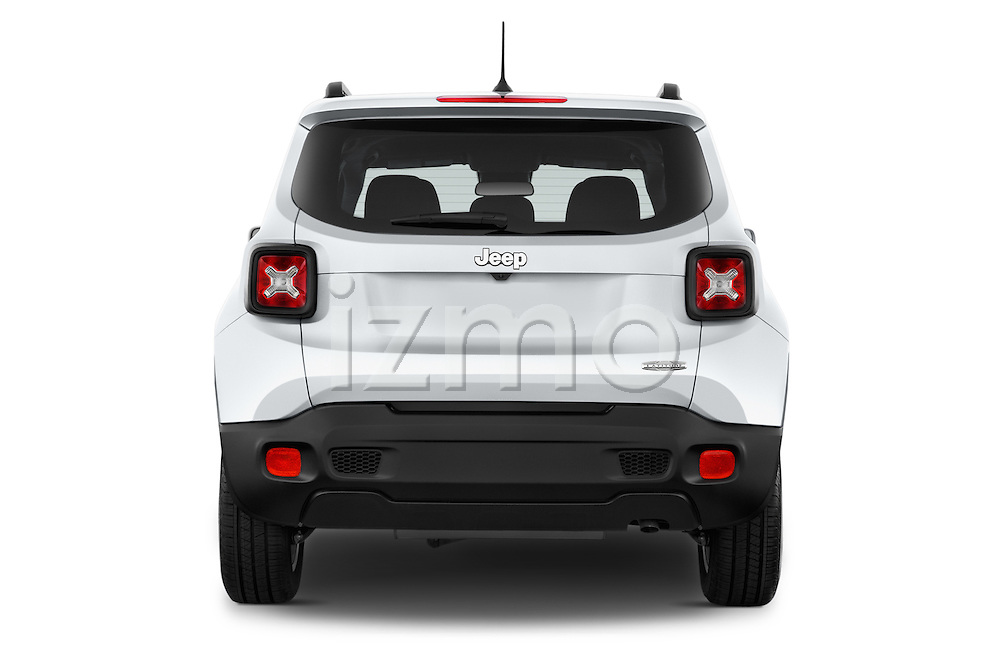 Straight rear view of a 2015 JEEP Renegade Latitude Door Sport Utility Vehicle Rear View  stock images