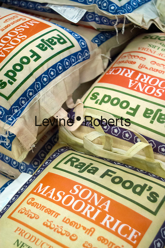 Bags of Sona Masoori rice imported from India are seen in a store in the multiethnic neighborhood of Jackson Heights in Queens in New York on Sunday, october 14, 2012. (© Richard B. Levine)