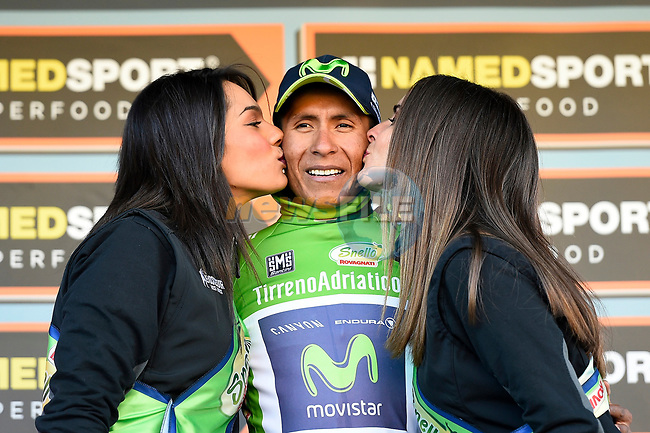 Nairo Quintana (COL) Movistar Team wins Stage 4 and takes over the mountains Maglia Verde of the 2017 Tirreno Adriatico running 187km from Montalto di Castro to Terminillo, Italy. 11th March 2017.<br /> Picture: La Presse/Fabio Ferrari  | Cyclefile<br /> <br /> <br /> All photos usage must carry mandatory copyright credit (&copy; Cyclefile | La Presse)