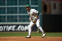 Baylor Bears second baseman Ricky Martinez (11) on defense against the Missouri Tigers in game one of the 2020 Shriners Hospitals for Children College Classic at Minute Maid Park on February 28, 2020 in Houston, Texas. The Bears defeated the Tigers 4-2. (Brian Westerholt/Four Seam Images)