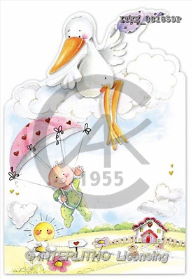 Isabella, BABIES, paintings, baby, stork, umbrella(ITKE081859,#B#) bébé, illustrations, pinturas ,everyday