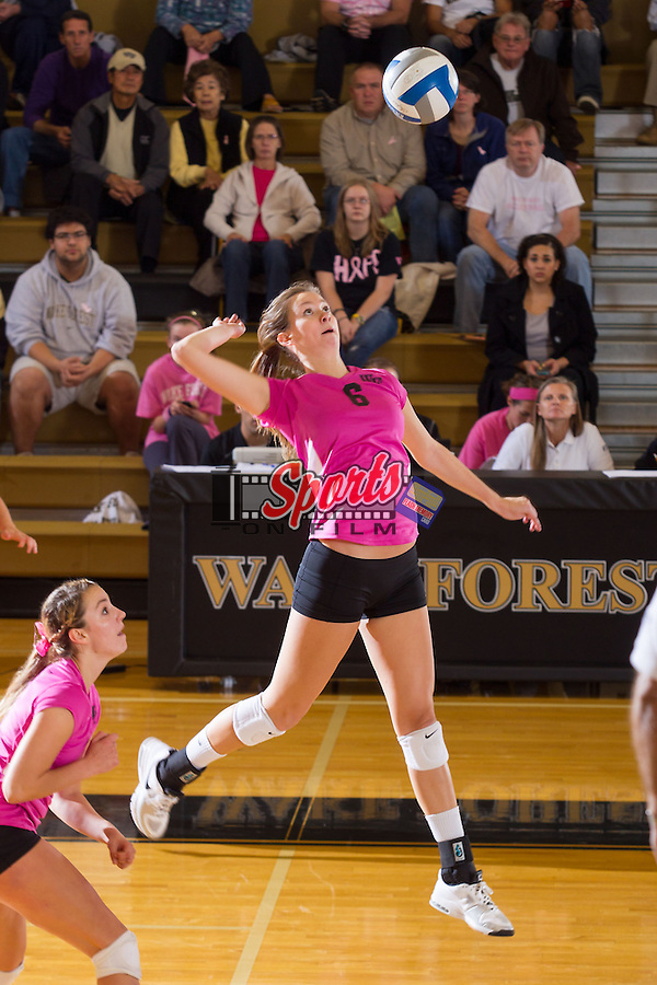 Matalee Reed (6) of the Wake Forest Demon Deacons attacks the ball against the Florida State Seminoles in Reynolds Gymnasium on October 25, 2013 in Winston-Salem, North Carolina.  The Seminoles defeated the Demon Deacons 3-1.   (Brian Westerholt/Sports On Film)