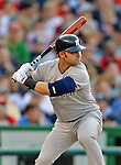 15 June 2012: New York Yankees outfielder Nick Swisher in action against the Washington Nationals at Nationals Park in Washington, DC. The Yankees defeated the Nationals 7-2 in the first game of their 3-game series. Mandatory Credit: Ed Wolfstein Photo