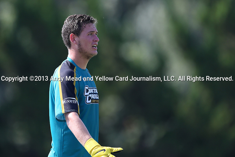 02 September 2013: Coastal Carolina's Devin Cook. The University of North Carolina Tar Heels hosted the Coastal Carolina University Chanticleers at Fetzer Field in Chapel Hill, NC in a 2013 NCAA Division I Men's Soccer match. UNC won the game 4-0.